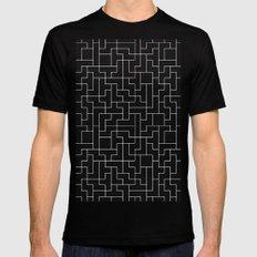 White Tetris Pattern on Blue Black MEDIUM Mens Fitted Tee