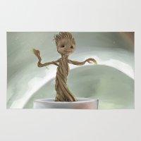 groot Area & Throw Rugs featuring Baby Groot by Cassandra Moonen