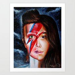 Half Bowie Half  Rowan Blanchard Oil Painting  Art Print