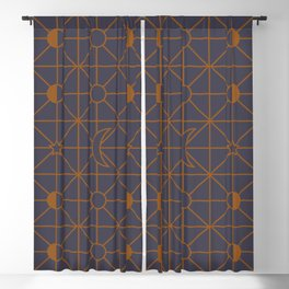 the moon grid pattern 2 Blackout Curtain