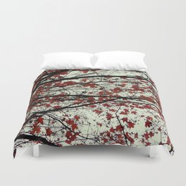 red maple leaves on a pea soup day Duvet Cover