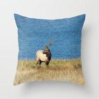 elk Throw Pillows featuring Elk by Becca Buecher
