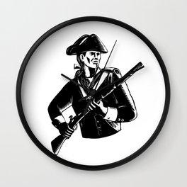 American Patriot Scratchboard Wall Clock