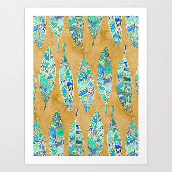 Jeweled Enamel Leaves on Tan Art Print