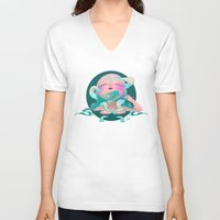 horror V-neck T-shirts featuring Horror fish by STUDIOKILLERS