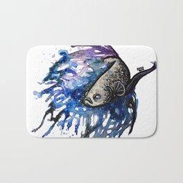 Galaxy Betta Fish Watercolor Bath Mat