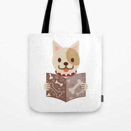 Cute dog with a catalog of bone illustration Tote Bag