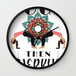 Yoga Lover First Yoga Then Jerky Wall Clock