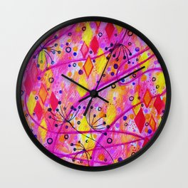 INTO THE FALL 2 - Whimsical Pink Purple Autumn Floral Watercolor Abstract Nature Pattern Fine Art  Wall Clock