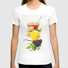 Tea with mint, ginger and lemon on white background T-shirt