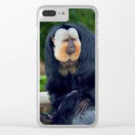 White-Faced Saki Monkey Clear iPhone Case