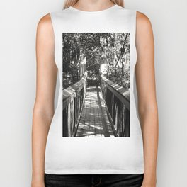 Suspension Bridge in Black & White Biker Tank