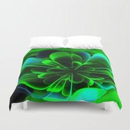 Abstract Green Flower Duvet Cover