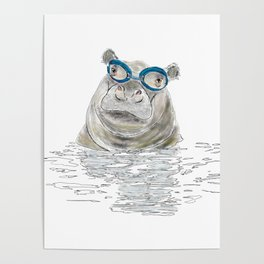 Hippo with swimming goggles Poster