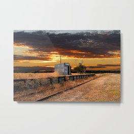 Sunset at the Coonawarra Rail Station Metal Print