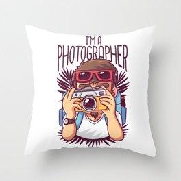 Im A Photographer Shutterbug Throw Pillow