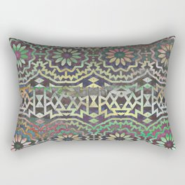 Gray vintage geometric flowered pattern on colorful background Rectangular Pillow