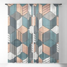 Copper, Marble and Concrete Cubes 2 with Blue Sheer Curtain