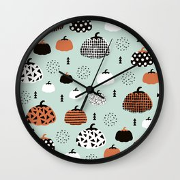 Inky Texture Pumpkins halloween illustration pattern design mint orange Wall Clock