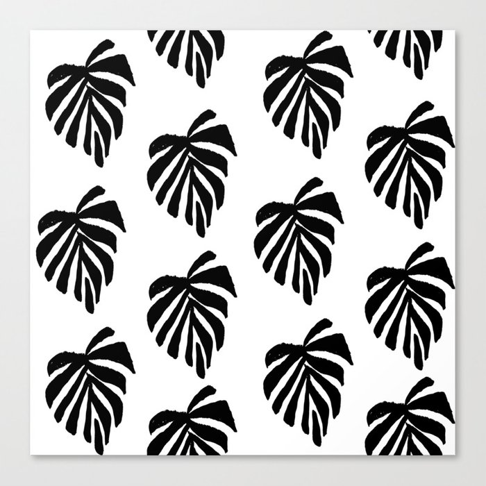 monstera leaf pattern black and white linocut minimal tropical