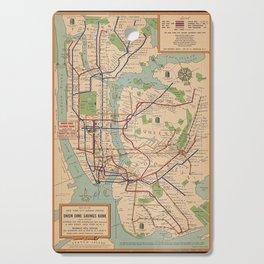 New York City Metro Subway System Map 1954 Cutting Board