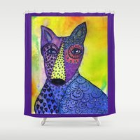 stanley kubrick Shower Curtains featuring Stanley the Dawg by jeanie mossa of planet calamari