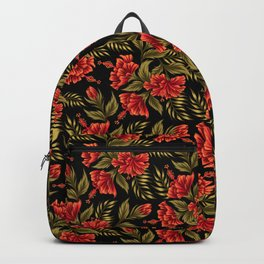 Hibiscus Floral - Red / Black Backpack