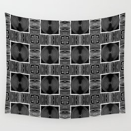 Geometric Black and Woven Tribal-Inspired Digital Pattern Wall Tapestry