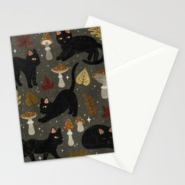autumn cat magic Stationery Cards