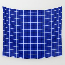 Indigo dye - blue color - White Lines Grid Pattern Wall Tapestry