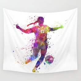 Girl playing soccer football player silhouette Wall Tapestry