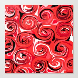 Red Apple Abstract Swirls Pattern Canvas Print