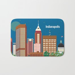 Indianapolis, Indiana - Skyline Illustration by Loose Petals Bath Mat