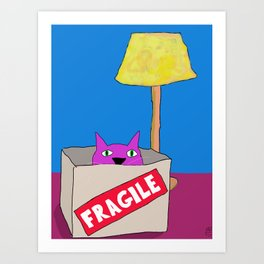 Purple Cat is Fragile Art Print