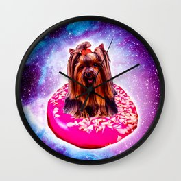 Outer Space Galaxy Dog Riding Doughnut Wall Clock