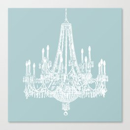 Chic White and Blue Chandelier   Canvas Print