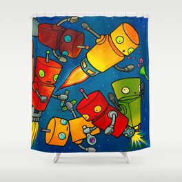 Robot - Robot Party 2 (Zero Gravity) Shower Curtain