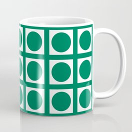 Emerald Elegant Grid Dots Coffee Mug