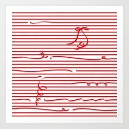 Red stripes (Ribbon) Art Print