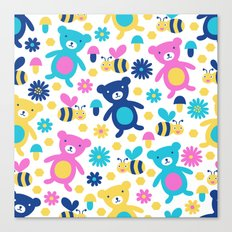 Bee and Bear Children's Pattern Canvas Print