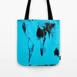 World Map : Gall Peters Blue Tote Bag