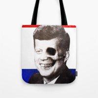 jfk Tote Bags featuring JFK SKULL PORTRAIT by Joedunnz