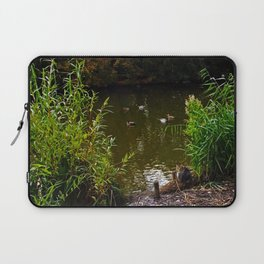 Busted! Cat watches the ducks Laptop Sleeve