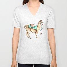 Watercolor Llama Unisex V-Neck
