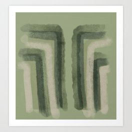 Green Jungle Breeze Waves_abstract brush strokes Stripes_painting Art Print