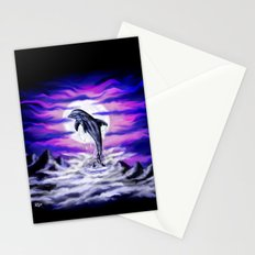 Moonlight-Dolphin Stationery Cards