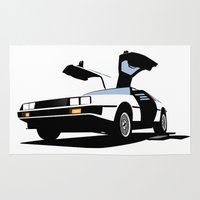 delorean Area & Throw Rugs featuring Delorean - Ghost Image 1 by Geoff Ombao Car Art