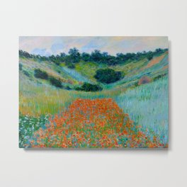 Claude Monet Impressionist Landscape Oil Painting Poppy Field in a Hollow near Giverny Metal Print