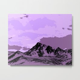 Chugach Mountains - EggPlant Pop Art Metal Print