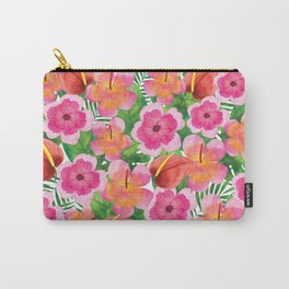 Tropical Flowers in Watercolor Carry-All Pouch